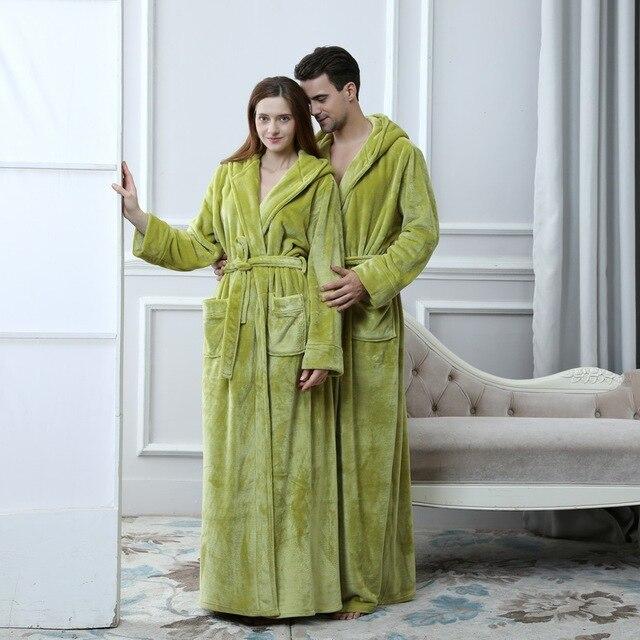 Unisex Extra Long Hooded Flannel Bathrobe 4