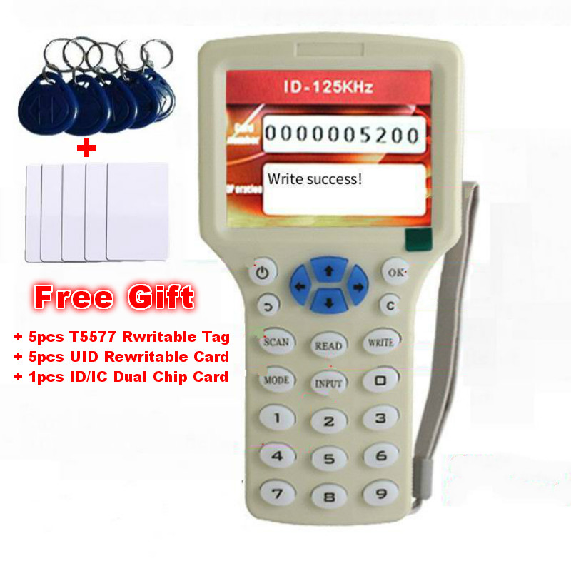English 10 Frequency RFID Copier ID IC Reader Writer Copy M1 13.56MHZ UID Encrypted Duplicator Programmer For All 125kHz Cards