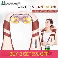 JinKaiRui bezprzewodowy akumulator szyi powrót masażer Shiatsu 3D głębokie ugniatanie przenośny, w pełni ciała Massagem z ciepła złagodzić ból