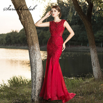 Real Video Crystal Burgundy Celebrity Long Arabic Elegant Formal Gowns Beading Gala Mermaid Prom Evening Party Dresses L5491
