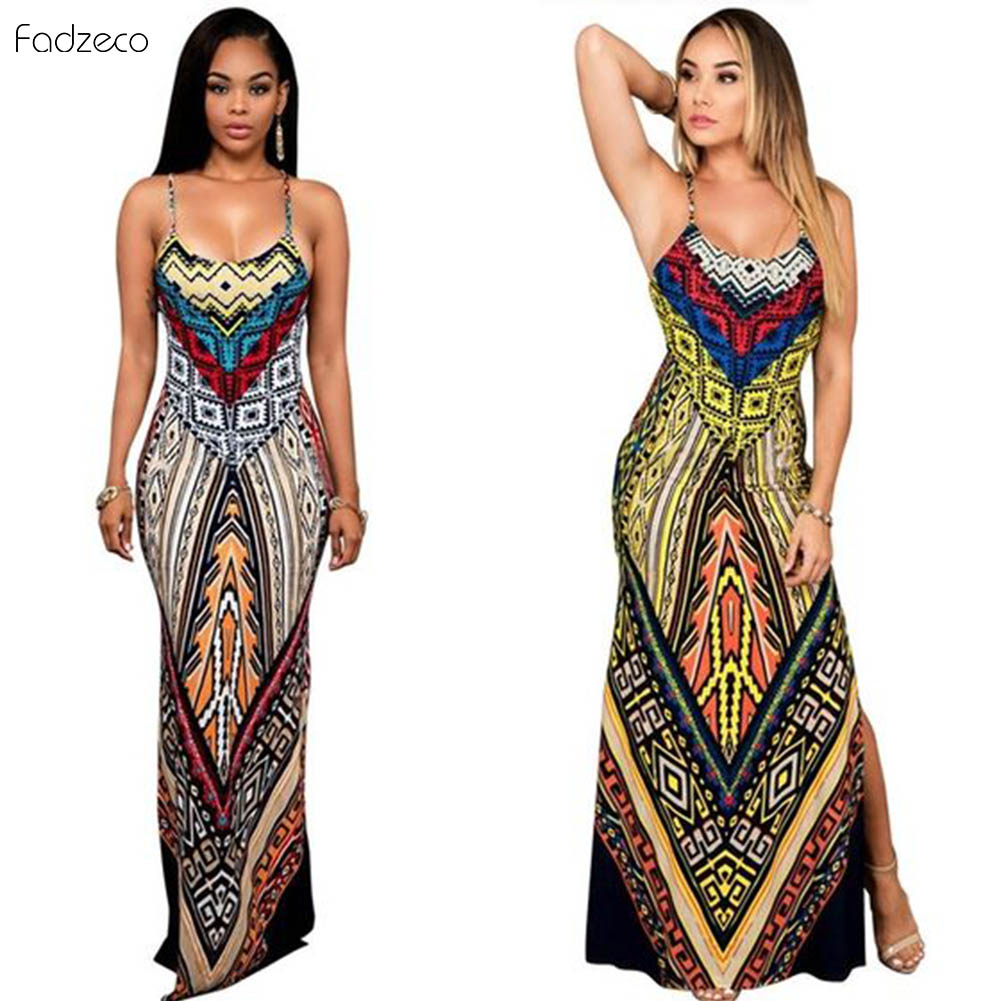 Fadzeco African Clothes Women Dresses 2019 Dashiki Traditional Ethnic Print Side Slit Maxi Long Dress Backless Off-Shoulder Sexy