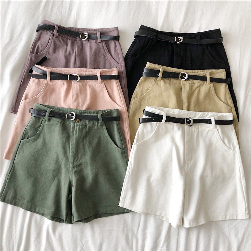 Casual Sashes Denim Shorts Women's 2020 Summer Thin High Waist Jeans Women Loose Wide Leg Pants All-Match Sporting Shorts Female