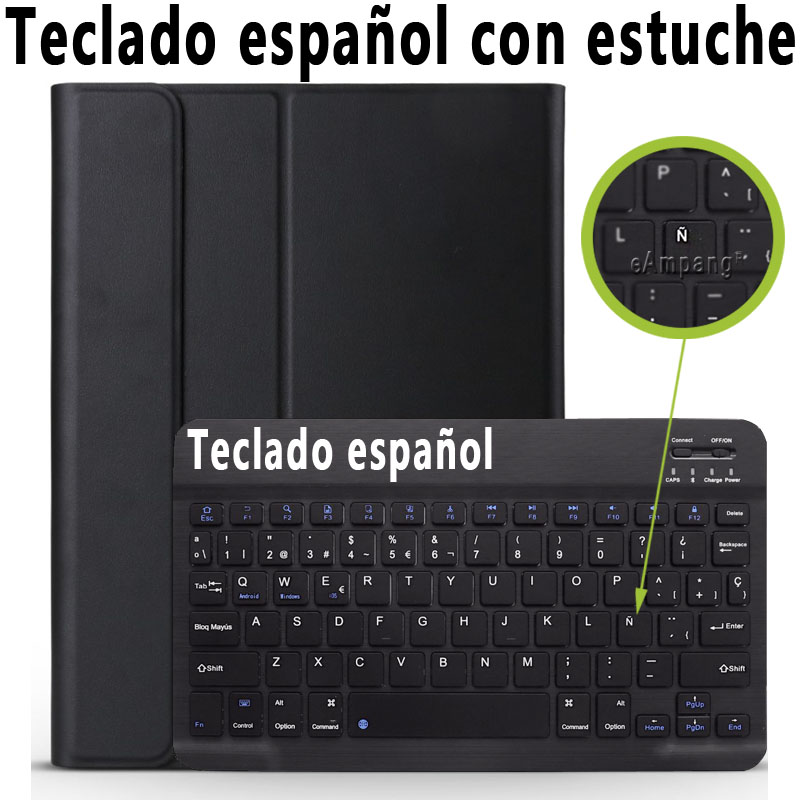 Spanish Keyboard Silver 3 0 Bluetooth Keyboard Case for iPad 10 2 Case for Apple iPad 7th Generation A2200