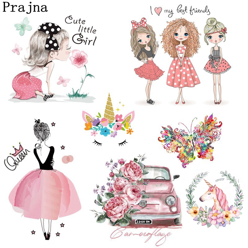 Prajna Fashion Girl Unicorn Iron-on Transfers Vynil Heat Transfer Ironing Stickers T-shirt Thermal Patches For Clothing Decor