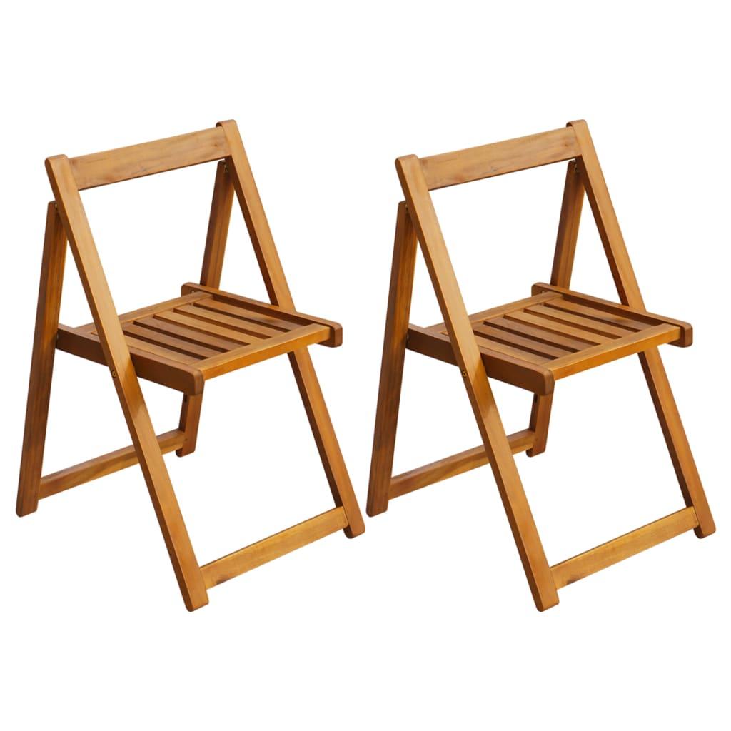 vidaXL 2pcs Solid Acacia Wood Folding Garden Chairs Outdoor Furniture