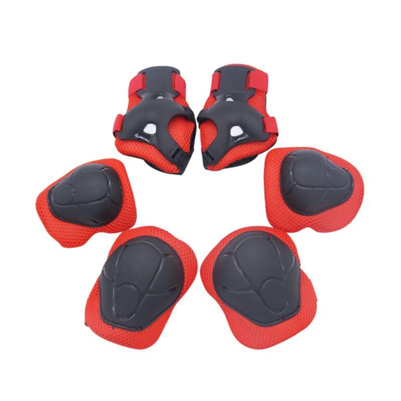 6Pcs Kids Protective Set Safety Gear Pad Kids Wrist Elbow Knee Protectors(Red) U1JC