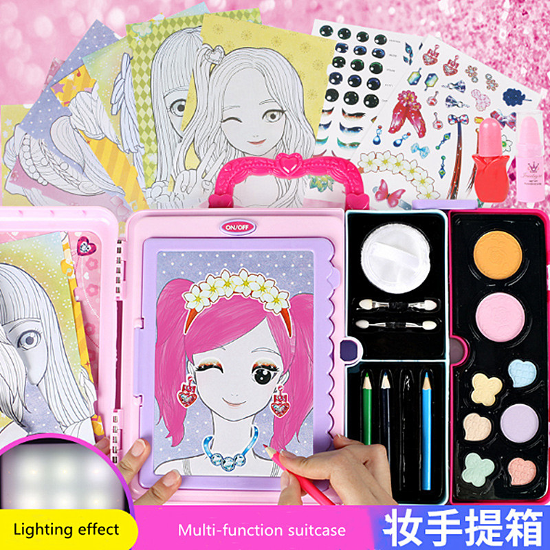 3 In 1 Children's Lighting Painting Board Girls Multi-function Portable Beauty Girl Toys Makeup Box Sticker Game Painting Toy