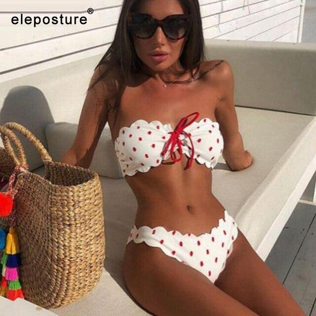 Sexy Polka Dot Bikini Vrouwen 2020 Twee Stuk Badpak Push Up Badmode Bloemen Side Badpak Brazilian Beach Wear Zwemmen pak