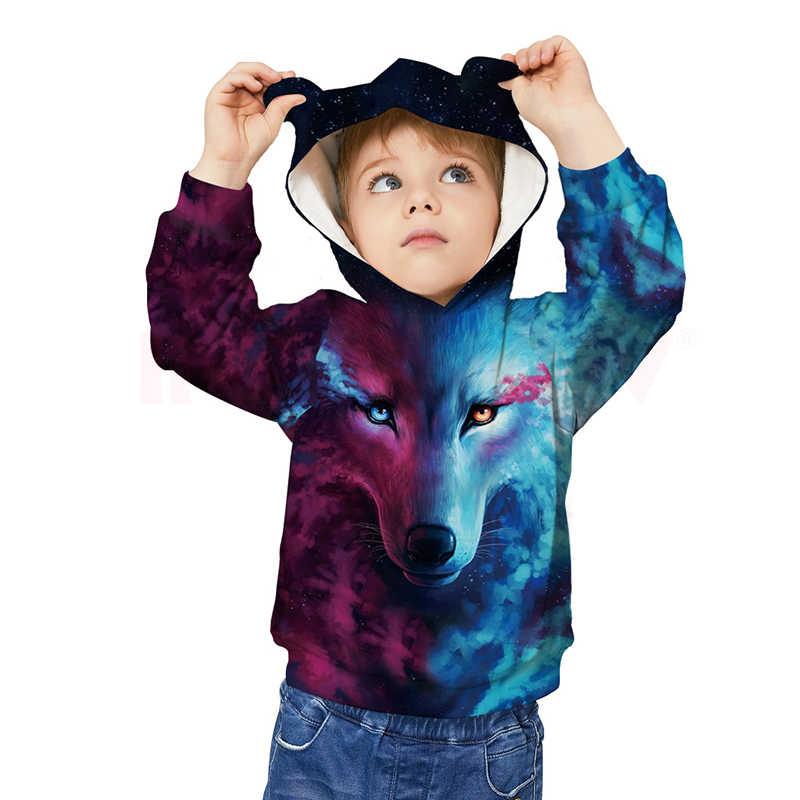 Sudadera con estampado 3D de lobo de INPEPNOW para niños y niñas, Gorro con orejas de gato, sudaderas para niños y niñas, ropa deportiva para adolescentes