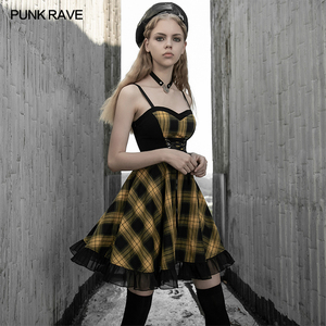 Image 1 - PUNK RAVE kızın ekose askı elbise kadın bayan ince kayış evaze elbise yüksek bel dalgalı parti kulübü elbise kadınlar