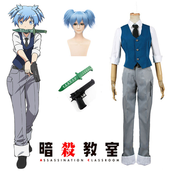 (QYY 002) Halloween Uniform Suits Anime Assassination Classroom Class 3-E Nasiga Shiota Suit Cosplay Costume assassination classroom korosensei pendant necklace yellow ansatsu kyoushitsu koro shiota akabane cosplay weapons necklaces