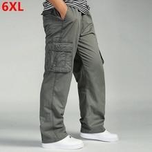 Mens casual trousers cotton overalls elastic waist full len multi-pock