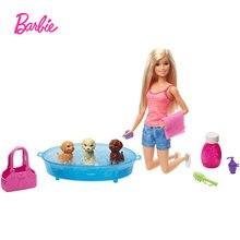 Кукла Барби набор блонд и игр 3 щенка мыльные чистые игрушки