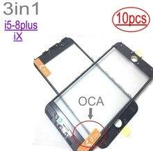 10 sztuk cold press 3 w 1 szkło przednie z ramką OCA dla iphone 5 5s 6 6s 7 7g 8 8p X plus naprawa czarny biały wymiana