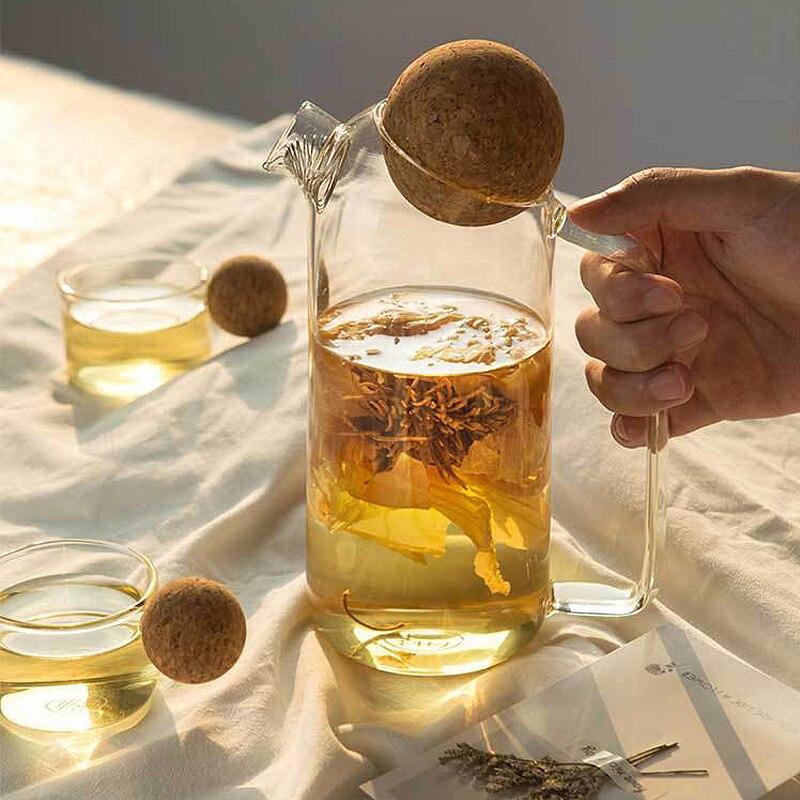 Domestic High Borosilicate Glass Bubble Teapot Large Capacity Boiled Teapot Flower Tea Pot Cup Juice Cold Kettle With Cork Lid