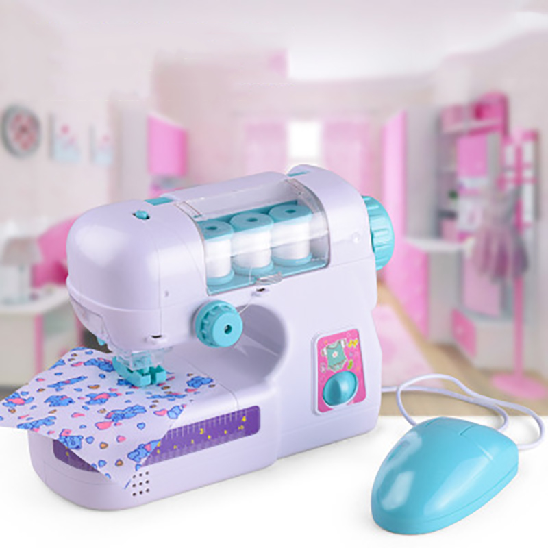 Children Sewing Machine Play House Toy Small Clothes Electric Kids Sewing Machine Home Toys Set Christmas Gift