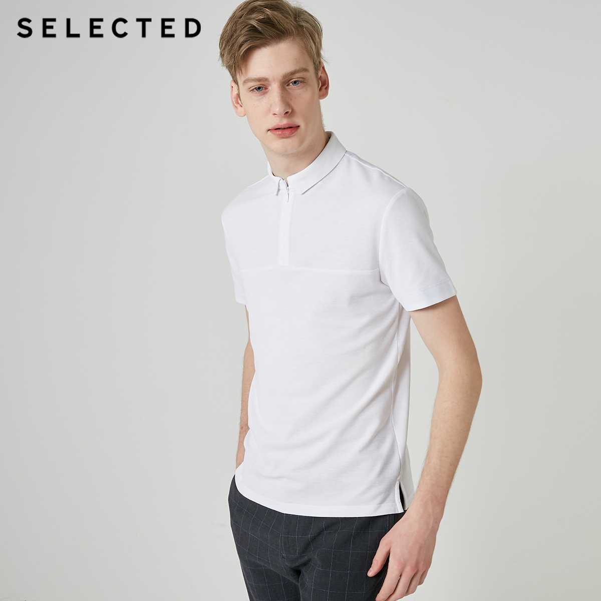 SELECTED Men's Cotton Turn-down Collar Zipped Slim Fit Poloshirt S|419206524