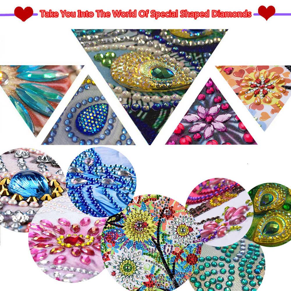 HUACAN w kształcie specjalnym diamentowe malowanie skórzane zakładki diamentowe hafty Craft Tassel Book Marks na książki świąteczne prezenty