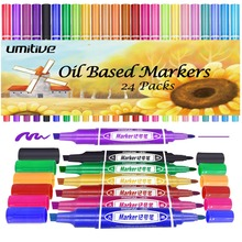 Umitive 24 Colors Oil Based Permanent Marker Pens Thick Chisel And Fine Tips For Surfaces From Paper Glass Plastic To Wood