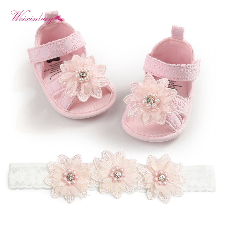 2020 Baby Summer Clothing Newborn Kid Baby Girl Flower Sandals Shoes Soft Sole Hook Casual Summer Shoes +Headband 2Pcs Solid Set