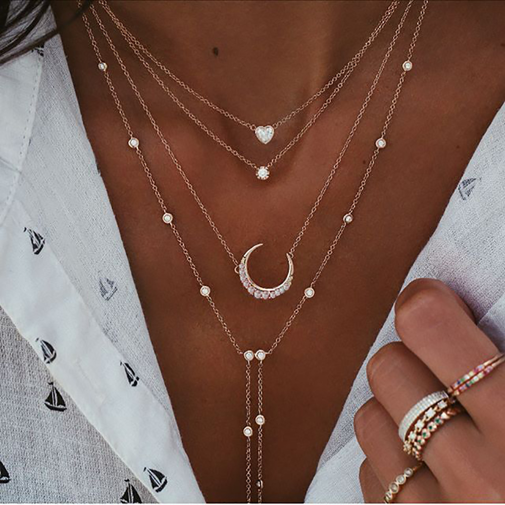 New Vintage Crystal Geometry Star Moon Lock Necklace For Women 2020 Boho Multi-level Pendants Necklaces Chokers Jewelry Gift