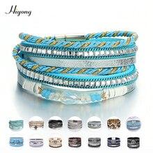 Multi-Layer Leather Wrap Bracelet Boho Braided Cuff Bangle Crystal Bead Bracelets Rhinestone Magnetic Clasp Bracelet for Women graceful exaggerated rhinestone cuff bracelet for women