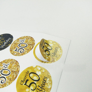Image 4 - Leeiu 216pcs Gold Black 30th Birthday Sticker Cheers 30 Years Birthday Party Decoration Gift Box Paper Sticker Adult Party