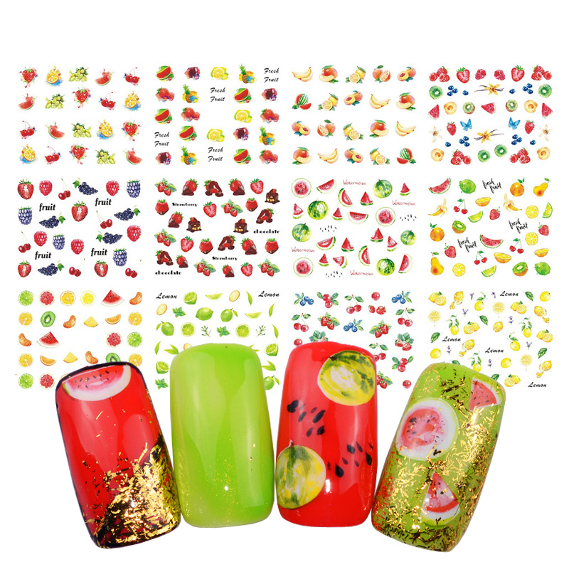Electricity Supplier Hot Sales Fruit Of 18 One Case Different-Nail Sticker Wholesale Watermark Stickers Manicure Flower Stickers