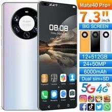 Mate40 pro + versão global smartphone tela cheia 7.3 Polegada deca núcleo 6000mah 12gb 512gb 4g lte 5g smartphones de rede