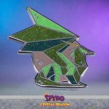 Glitter grün Kristall Drachen harte Emaille pin video spiel abzeichen Spyro gamer großes geschenk