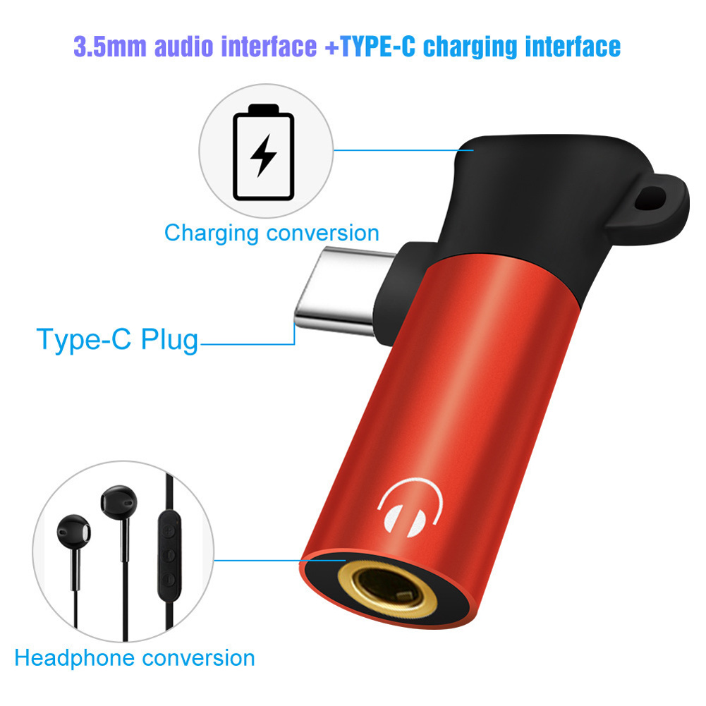 2 In 1 Type-C To 3.5mm  Adapter Male To Female Headphone Jack Audio USB Keychain Phone Adapter Charge And Headphone