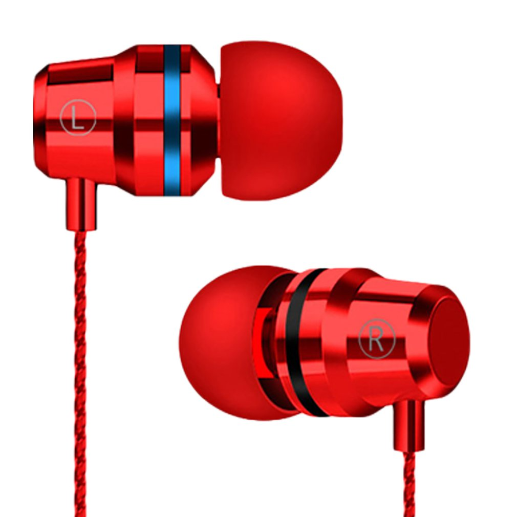 Metal Earphones In-Ear Remote Control With Wheat Wire Control Headset For Apple Android Smartphone Universal Headset