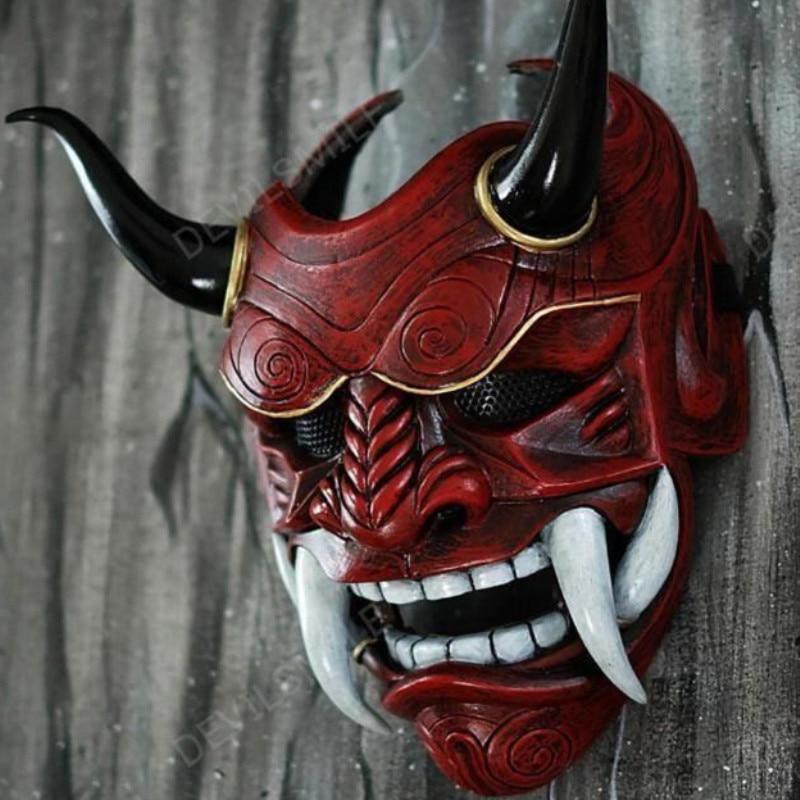 Маскарадная Красная маска пражны на Хэллоуин, японские латексные клыки гримаса на все лицо Cospiay Noh, забавные страшные маски призрака, Бога, в...