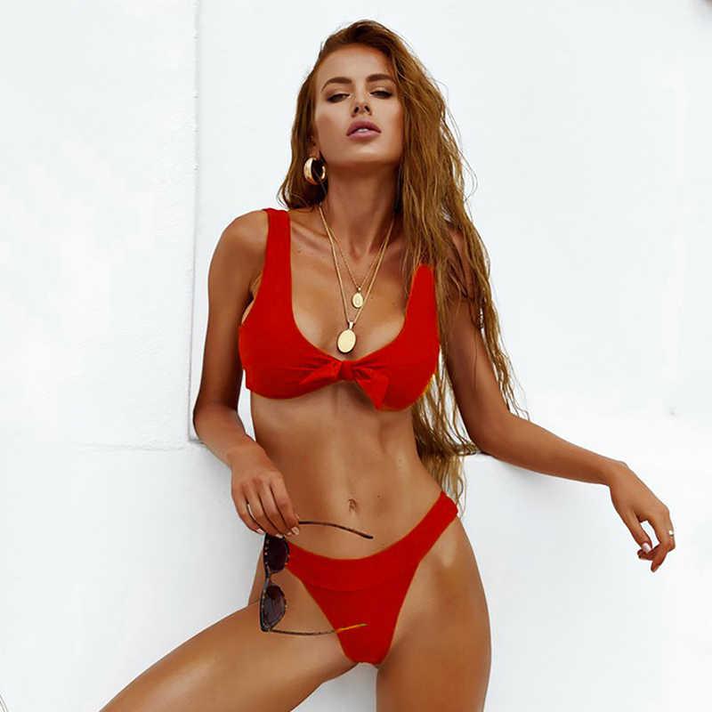 Seksi TOP Leher Tanpa Lengan Bikini Set Wanita Tinggi Potong Baju Renang Baju Renang Musim Panas Pantai Wanita Pinggang Rendah Merah baju Renang
