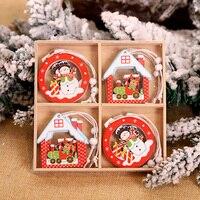 12Pcs Weihnachten Schneeflocken Holz Anhänger Weihnachten Baum Ornamente Hause Hängen Dekor Weihnachten Dekorationen für Home Navidad 2020