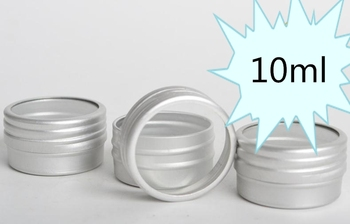 New 400pcs 10ml aluminum jars with PVC window screw lid,10g aluminum canister, mini aluminum package container SN395