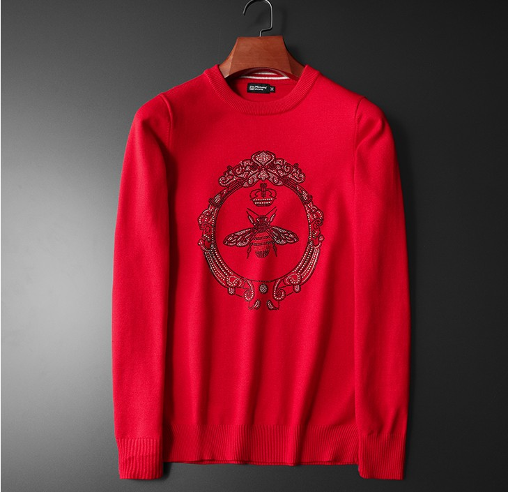 New 2019 Men Luxury Winter Hot Diamonds Bees Rose Embroidered Casual Sweaters Pullover Asian Plug Size High Quality Drake #M72