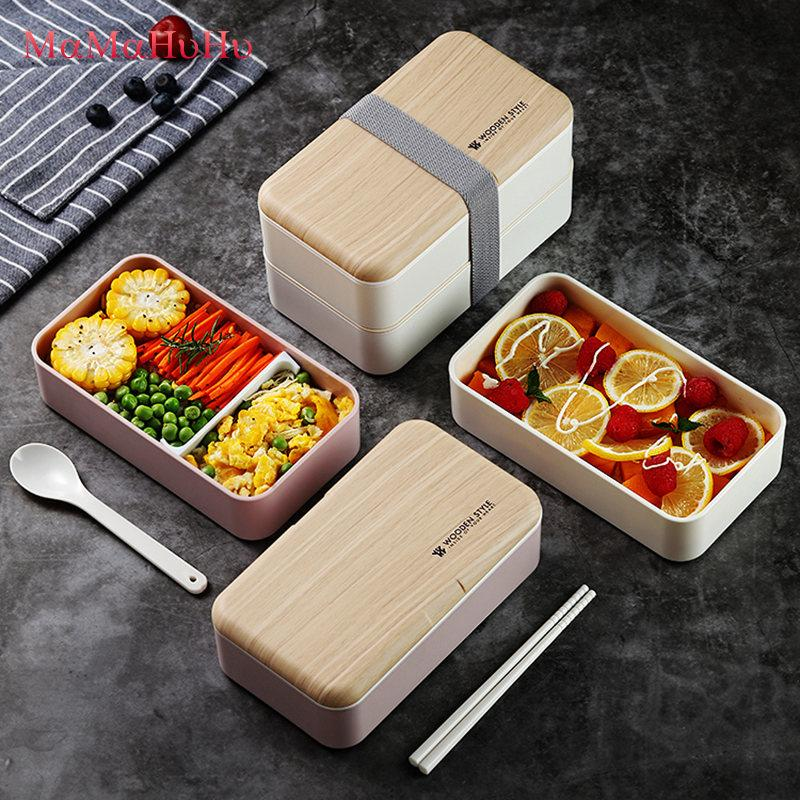 Microwave Double Layer <font><b>Lunch</b></font> <font><b>Box</b></font> 1200ml Leak-Proof Japanese Wooden Style Bento <font><b>Lunch</b></font> <font><b>Box</b></font> For Kids Food Container Food Grade PP image