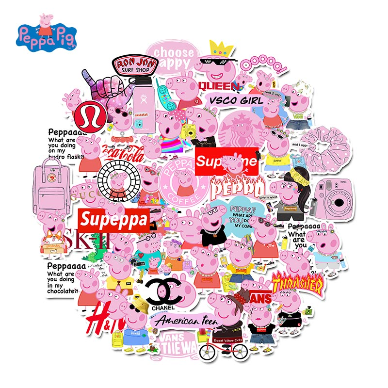 Peppa Pig VSCO Style Stickers 50pcs Suitcase Laptop Pvc Waterproof Sticker