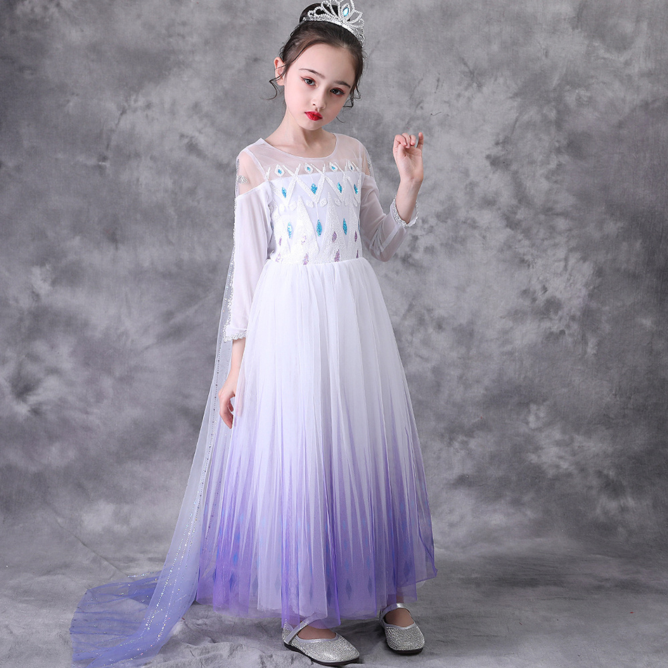 Elsa 2 Princess Snow White Bling Dress up Kids Dresses for Girls Halloween Party Children Costume Vestido infantil Festa Princes