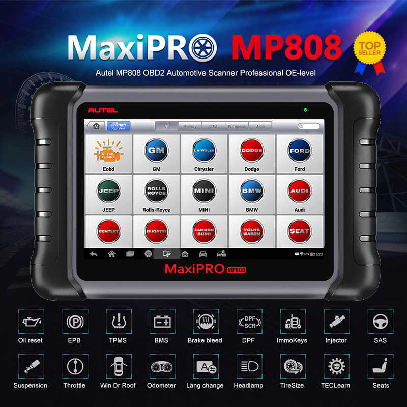 Autel Maxipro MP808 Diagnostic Tool Obdii Obd 2 Auto Auto Diagnose Scanner Tool Tpms Programmering Sleutel Programmeur Maxisys MS906