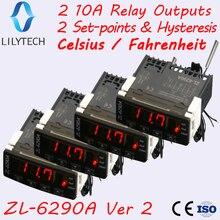 ZL-6290A, 4 шт. в упаковке, опция по Цельсию по Фаренгейту, двойные выходы 10А, термостат для инкубатора, аналогичный STC-1000, ITC-1000