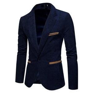 Image 2 - חדש סתיו גברים מזדמן חליפת מעיל גברים מוצק צבע קורדרוי צמר בד חליפת טרייל כיס כפתור לקשט גברים של חליפה מעיל