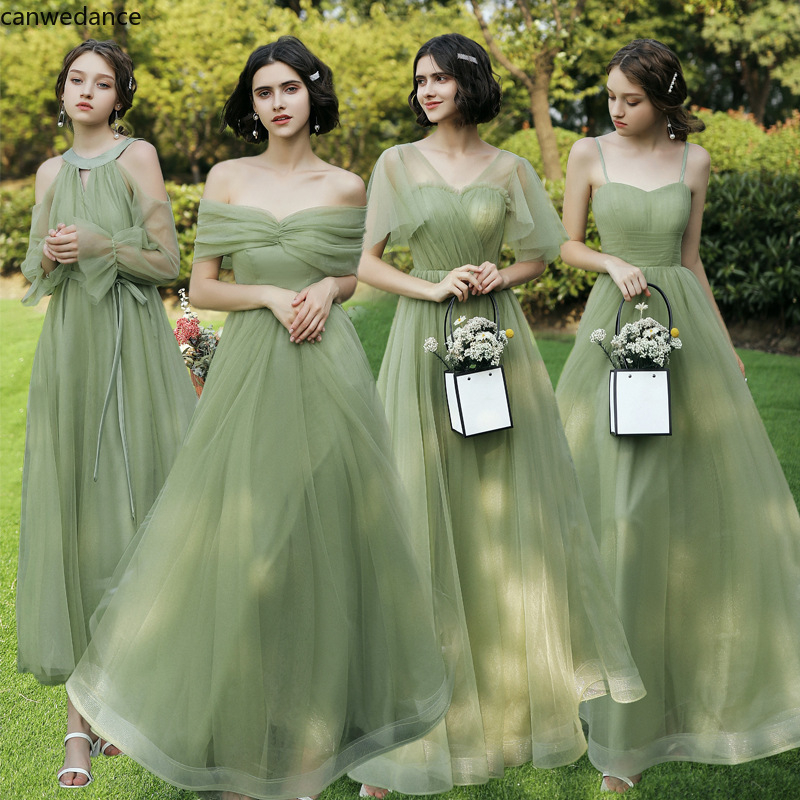 Beauty Bridesmaid Dresses 2020 Long Women Wedding Event Party Prom Dresses Lace Up A Line Sleeveless Vestido