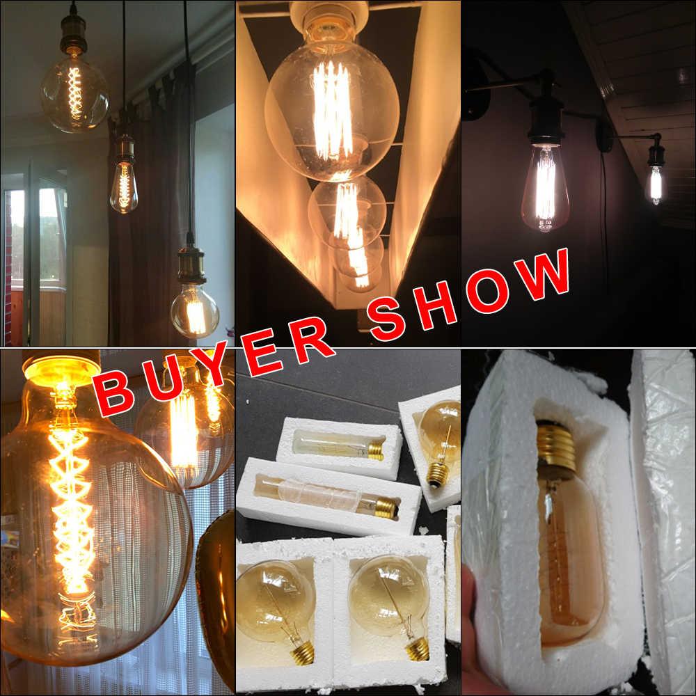 レトロエジソン電球E27 220v 40 ワットST64 G80 G95 G125 アンプルヴィンテージエジソン電球白熱ランプフィラメントライト電球家の装飾