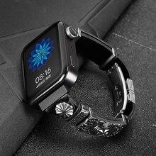 Винтажный кожаный браслет ремешок для xiaomi smart watch Новинка сменный ремешок для mi watch Мстители аксессуары для часов