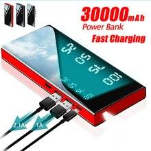 כוח בנק 30000mAh נייד מראה מטען אולטרה קיבולת גבוהה כוח בנק 2.1A פלט עבור טלפון חכם