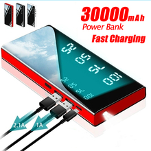 Power Bank 30000mAh Portable Mirror Charger Ultra High Capacity Power Bank 2.1A Output for smart phone