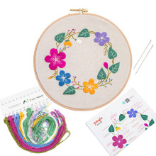 20cm DIY Embroidery Flower Handwork Needlework for Beginner Cross Stitch Kit Ribbon Painting Embroidery Hoop Home Decoration