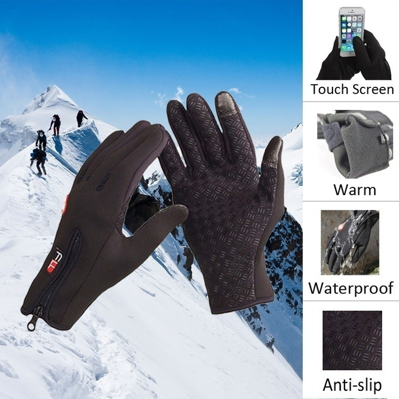 1 Pair Touch Screen Warm Skiing Gloves Non Slip Durable Gloves For Motorcycle Riding Skiing Bicycle Mobile Phone Winter